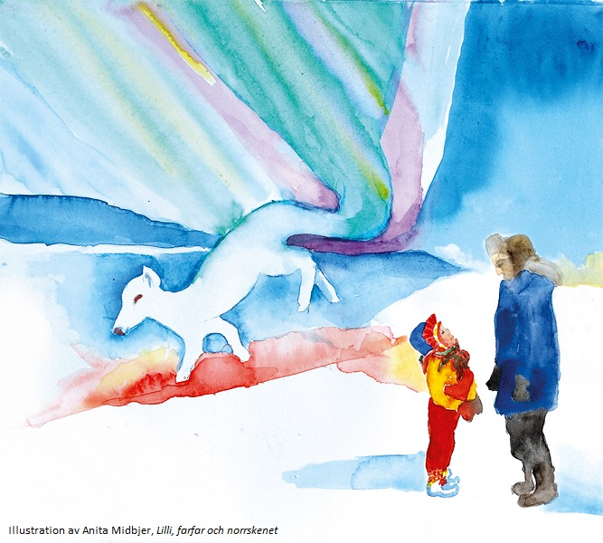 Water colour of small girl and her grandpa stood in the snow with northern lights and arctic fox in the background