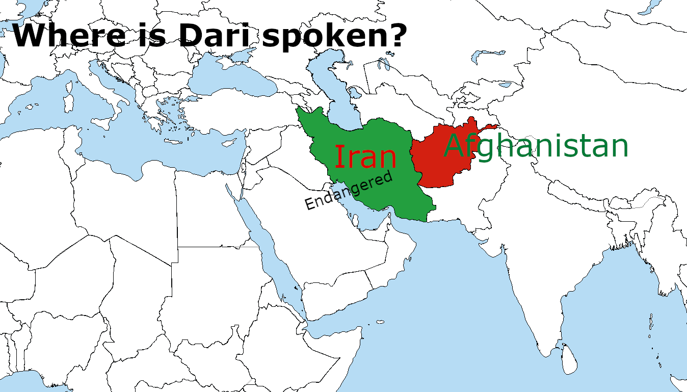 Image of Iran and Afghanistan, two main countries where Dari is spoken. Image created using https://commons.wikimedia.org/wiki/File:A_large_blank_world_map_with_oceans_marked_in_blue.PNG under the Creative Commons Attribution-Share Alike 3.0 license