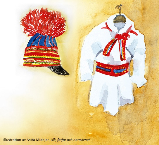 Water colour of traditional Saami garments, a hat and coat, by Anita Midbjer
