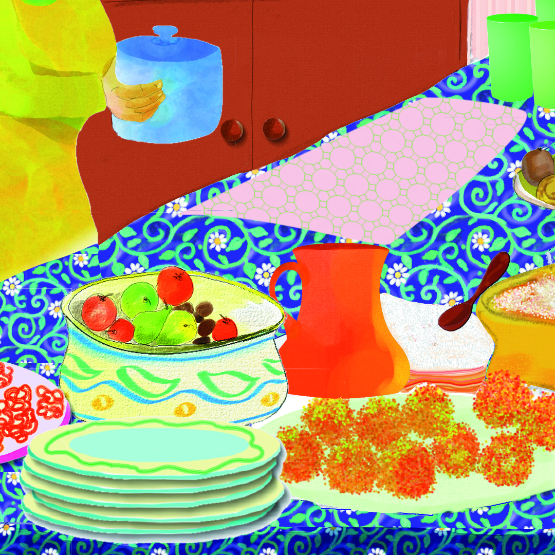 Illustration from Samira's Eid by Enebor Attard, a table laden with fresh fruit and dishes for the feast of Eid al Fitr