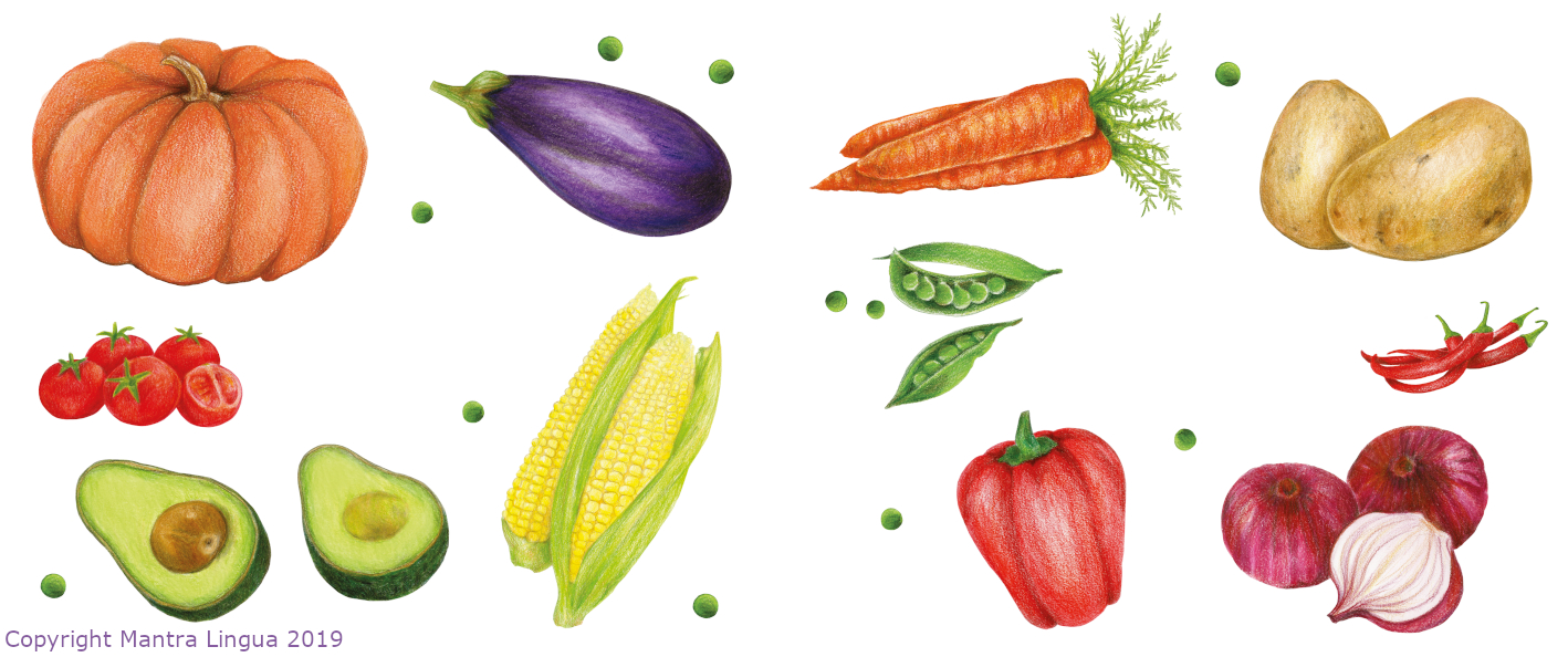 "Fruit and Vegetables from ""Food, Food, Fabulous Food"" by Kate Clynes, illustrations by MW."