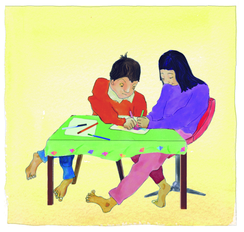 Illustration from Samira's Eid by Enebor Attard, Samira and her brother sitting at a table making cards for their relatives and friends