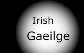 """A black and white image with the words """"Spotlight on"""" against and then """"Irish Gaeilge"""" against white."""