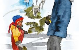 Water colour of Lilli and her Grandpa stood by the reindeer, feeding them lichen.