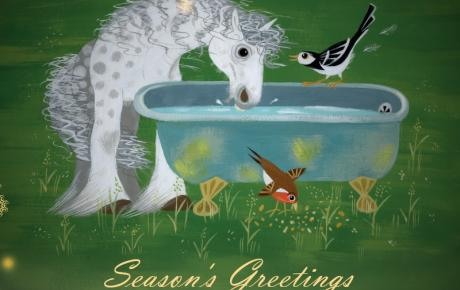 Illustration of horse, wagtail and robin drinking water together, from Mungo Makes New Friends