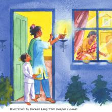 Evening on Diwali. A mother and her son light candles by the door. Illustration by Doreen Lang, text by Divya Karval, from Deepak's Diwali by Mantra Lingua