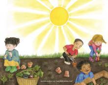 Children tending to a garden together under a bright sun.