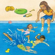 Children practicing swimming in public pool